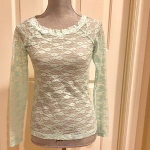 Mudd Lacey Green Long Sleeve Top SZ Med